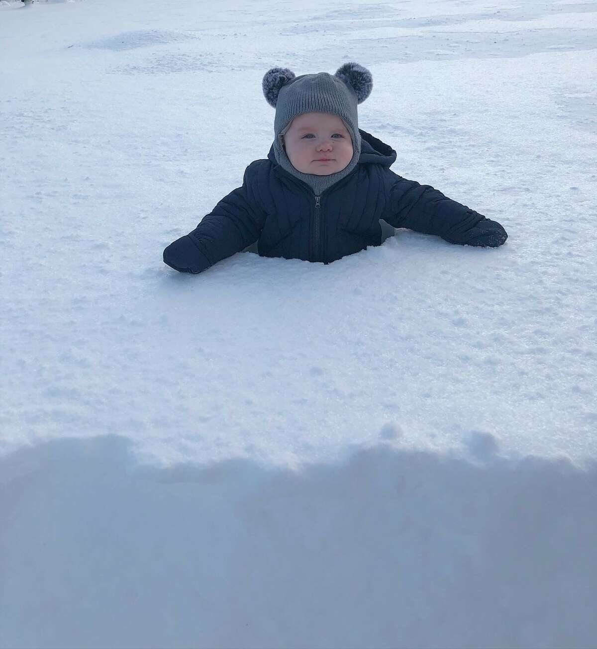 In this photo from a reader, Delaney James Gervasio, son of Noreen Gervasio, enjoys his first snowstorm.