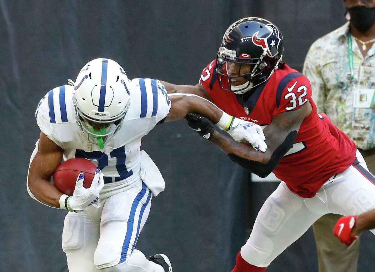 Running back Nyheim Hines (21) and the Colts will be seeing a lot more of Texans safety Eric Murray in this week's AFC South rematch. Murray is the chief replacement for Justin Reid, who suffered a season-ending thumb injury at Chicago last Sunday.