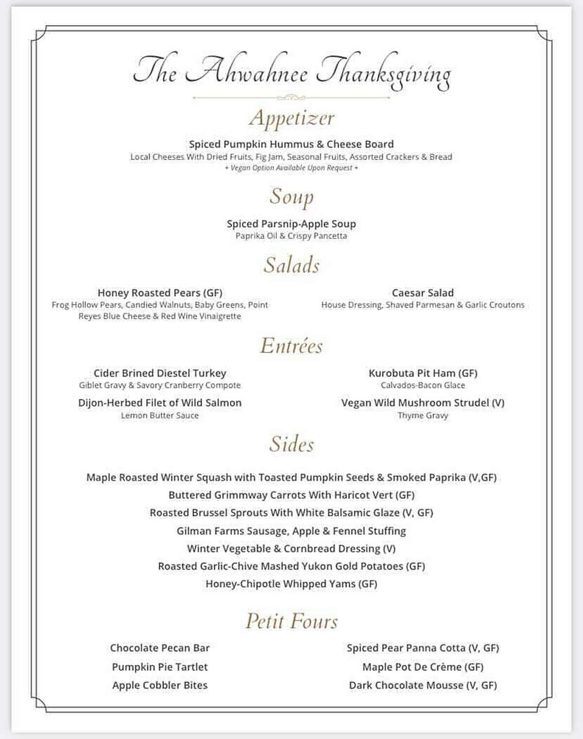 The menu from the Ahwahnee Hotel's 2020 Thanksgiving feast.