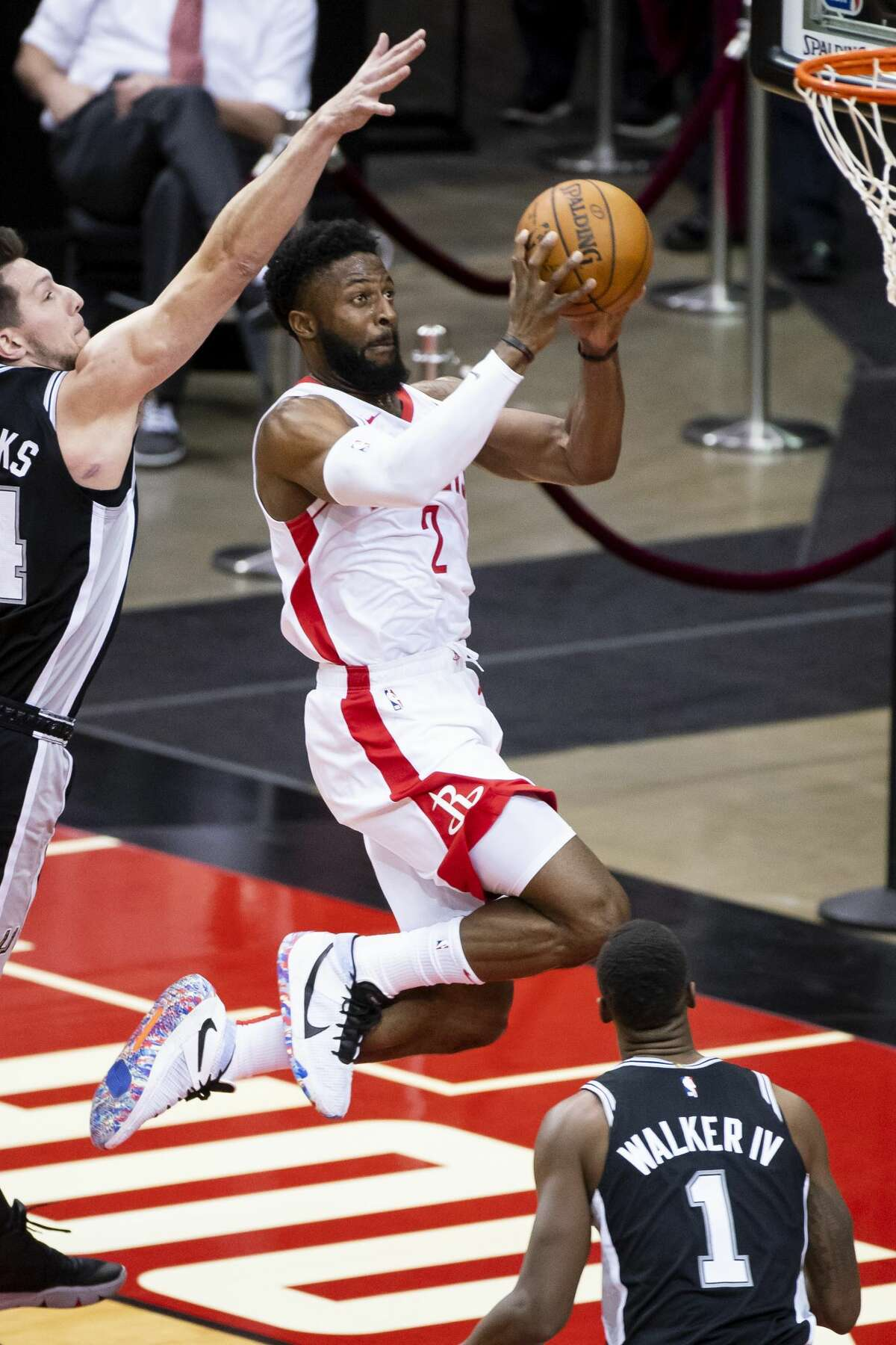 Houston Rockets guard David Nwaba (2) shoots during the fourth quarter of a preseason NBA basketball game between the Houston Rockets and the San Antonio Spurs on Thursday, Dec. 17, 2020, at Toyota Center in Houston.