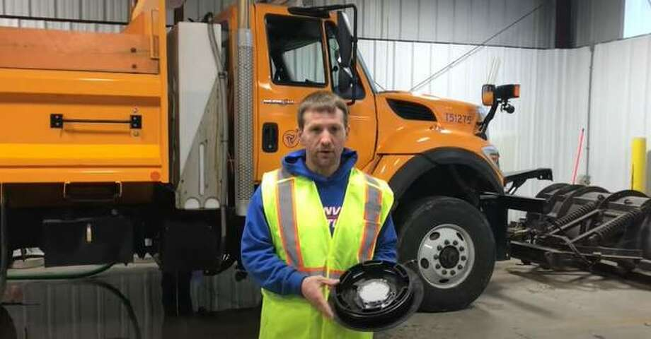 Sean Whitlock, Illinois Department of Transportation highway maintainer for District 6 in Carlinville, talks about an improvement his office developed to help save the state thousands of dollars using $38 worth of supplies available from auto parts stores. Photo: Provided