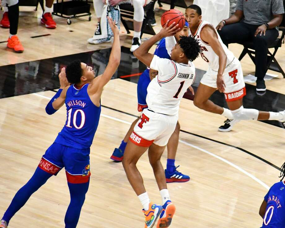 The 14th-ranked Texas Tech Red Raiders suffered a 58-57 loss to 5th-ranked Kansas in a Big 12 men's basketball game on Dec. 17, 2020 in the United Supermarkets Arena in Lubbock. Photo: Nathan Giese/Planview Herald