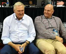 Los Angeles Clippers executive board member Jerry West, left, and Clippers owner Steve Ballmer attend a game between the Clippers and the Memphis Grizzlies during the 2019 NBA Summer League on July 7, 2019 at the Thomas & Mack Center in Las Vegas, Nevada. (Ethan Miller/Getty Images/TNS)