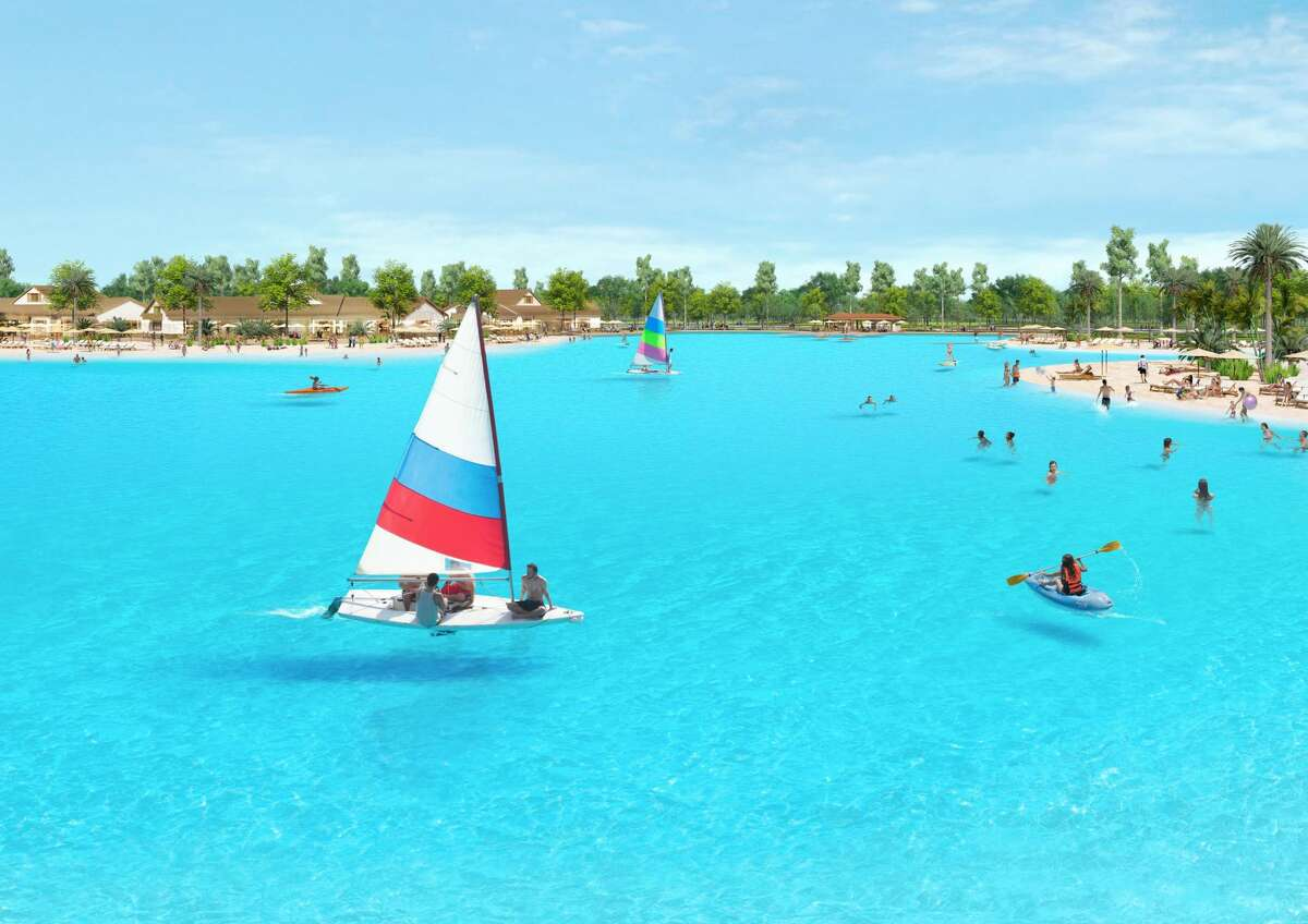Sunterra Lagoon will span three and a half acres and feature turquoise water, several white-sand beaches, an island, clubhouse and pool.