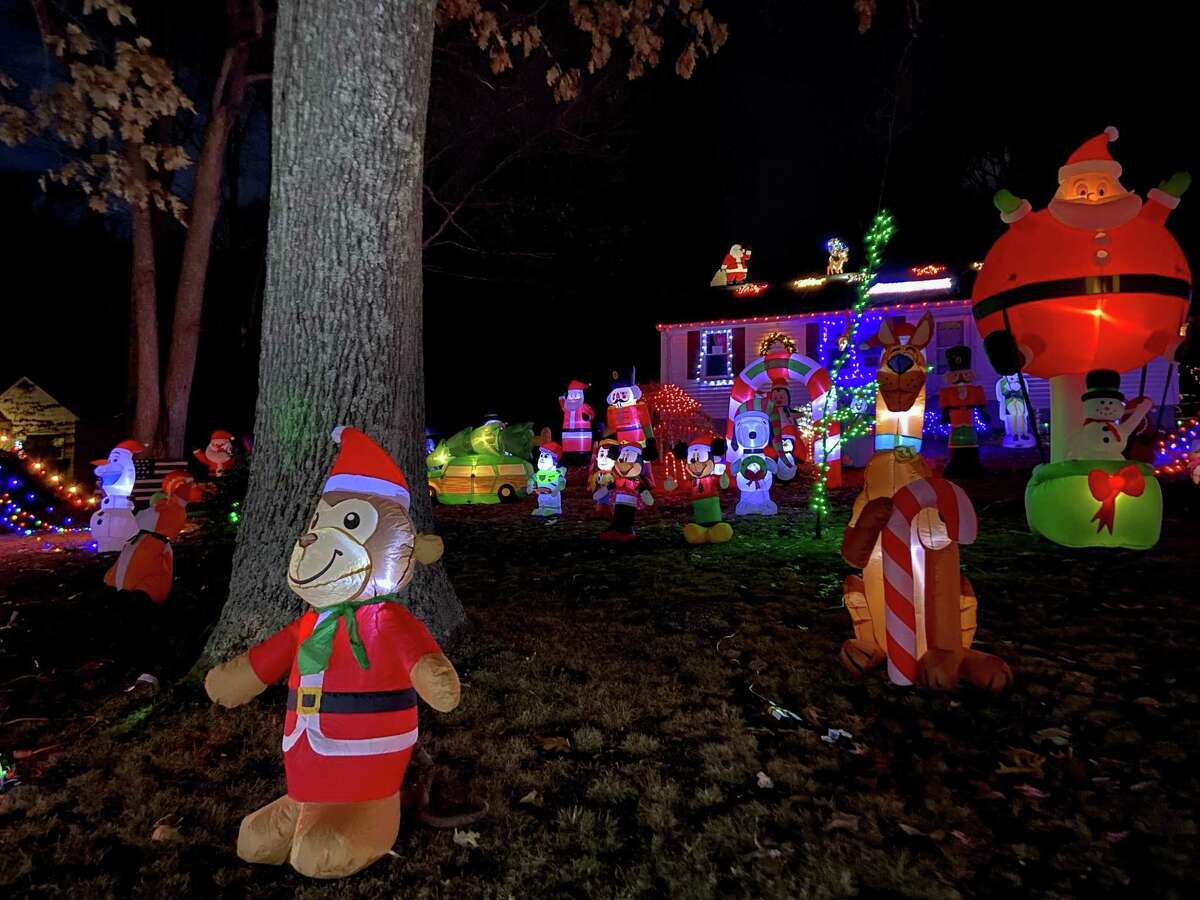 Holiday lights at a Moose Hill Road in Monroe, Conn.