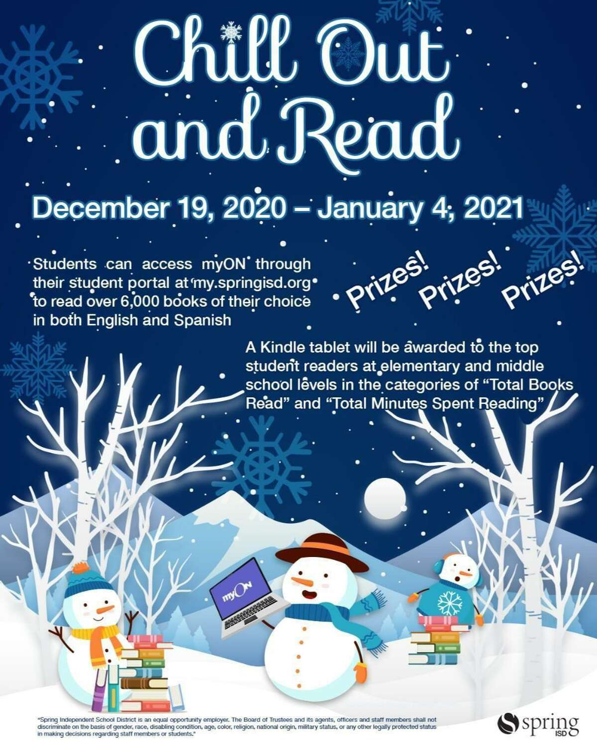 Spring ISD will award a Kindle tablet to the top-reading elementary and middle school students over the holiday break.
