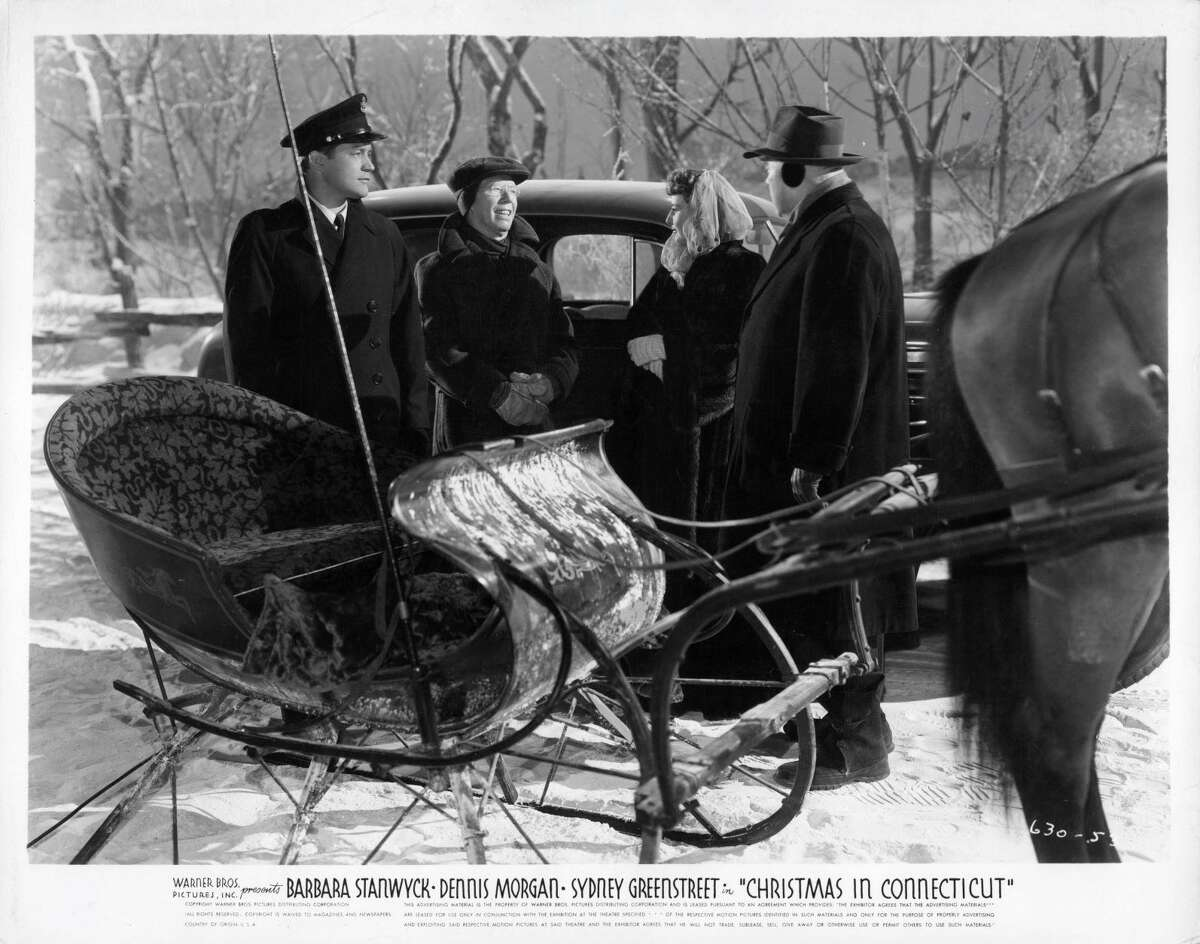 """A runaway horse-drawn sleigh allows magazine food writer Elizabeth Lane (Barbara Stanwyck) and war hero Jefferson Jones (Dennis Morgan) a chance to escape for some alone time in 1945's """"Christmas in Connecticut."""" Colby said being a female writer in the 1930s wasn't easy, but her grandmother made it work. Her grandfather, a music teacher and composer, """"had a tragic loss of hearing"""" that made him unable to earn a living, so """"she had to support the family in the middle of the Depression."""" They were lean times, but Taber, who bought her Connecticut house with another family, hit her stride when she came upon the idea of writing about rural life on a 1700s farm. """"The series really took off; it was an early form of the lifestyle article. The title, 'Diary of Domesticity' is somewhat cringe-worthy today, but the series was a huge hit for Ladies' Home Journal."""" That compelling column delighted readers from 1937 through much of the 1940s, and was especially popular when the movie debuted. Two of the film's writers were women, one of whom was based in New York. """"So the name of the column Elizabeth Lane writes is not 'Diary of Domesticity,' but 'Diary of a Housewife.' It's about our old house in Connecticut."""""""