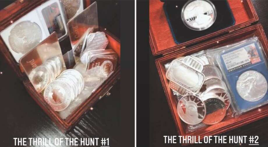 Pictured are the first two treasure boxes found for The Thrill of the Hunt contest in Laredo. Photo: Courtesy /Thrill Of The Hunt