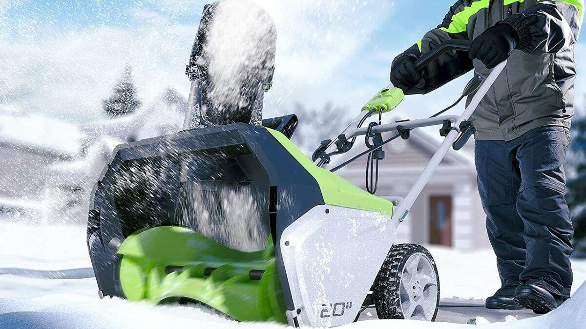 Greenworks 20-Inch 13 Amp Corded Snow Thrower, 50% off at Amazon