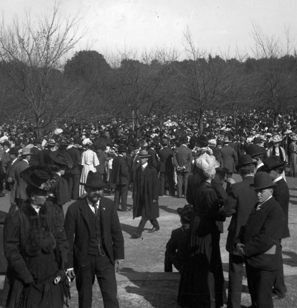 A crowd gathers in Golden Gate Park sometime after the 1906 earthquake and fire.
