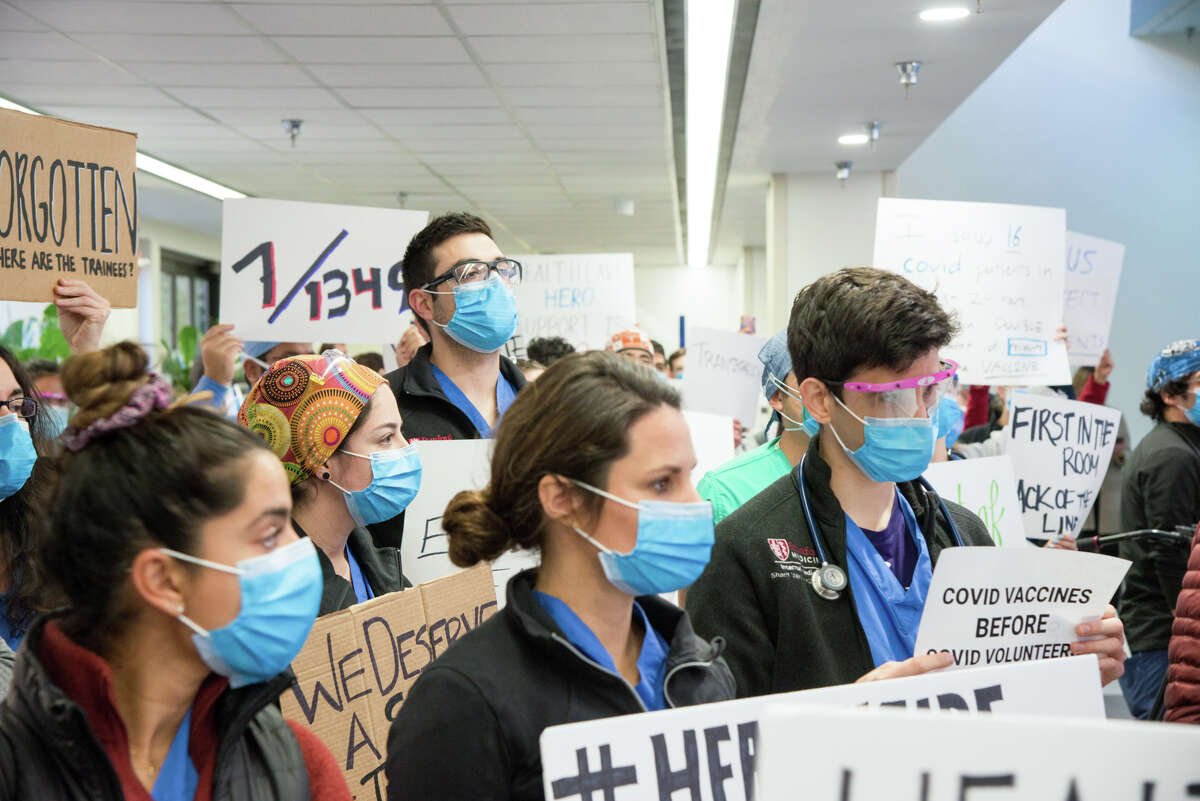 Residents at Stanford Hospital protested Friday, Dec. 18, 2020, executives' decision to give vaccines to some administrators and physicians who are at home and not in contact with patients rather than frontline workers.