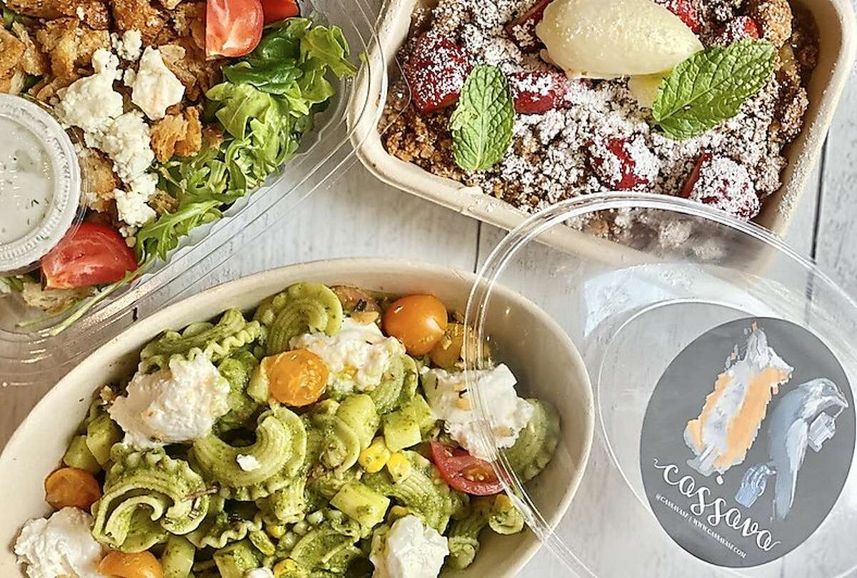 A pasta dinner for two, including salad and dessert, from San Francisco restaurant Cassava. It's offered as a subscription, a business model that some local restaurants are trying.