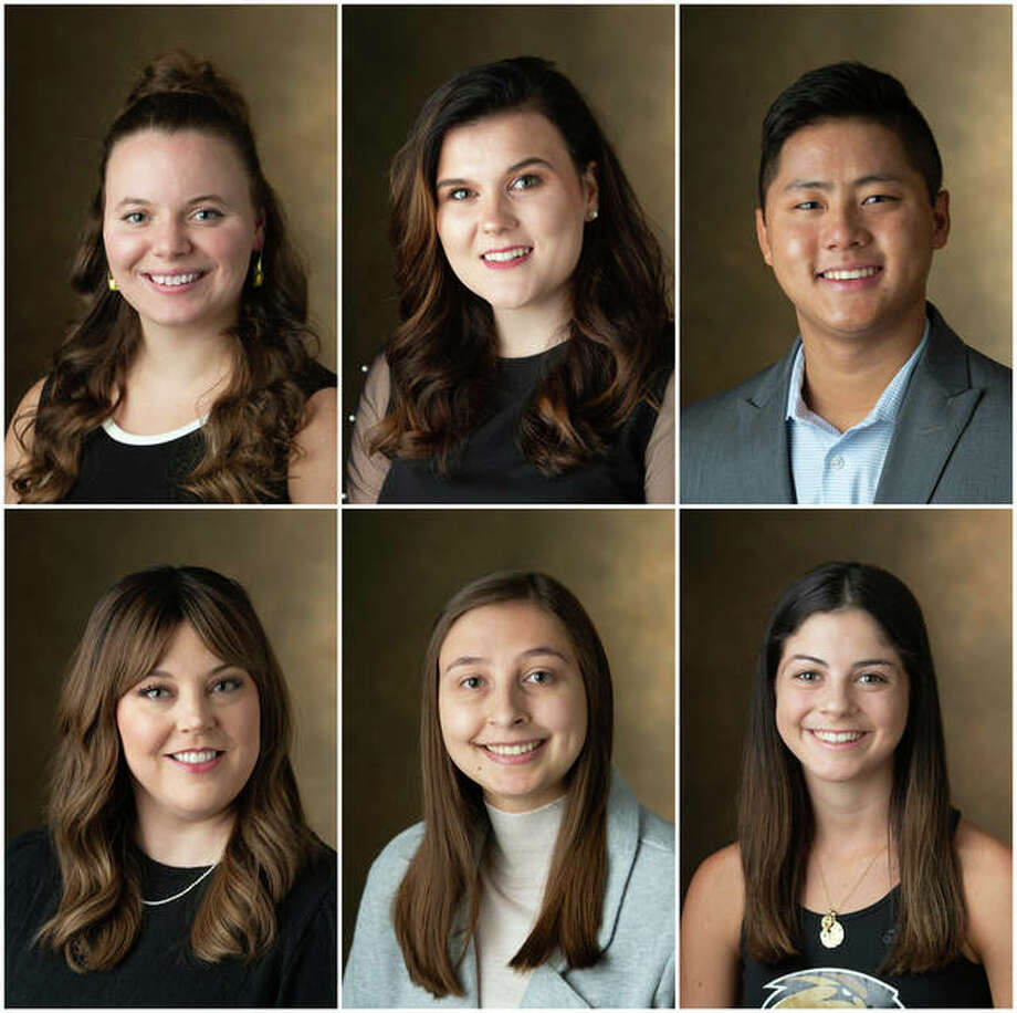 Speakers for the Southern Illinois University Edwardsville 2020 virtual fall commencement exercises were, from left, top row, Cassidy Bruns, Paulina Fuhrmann and Matthew Gregor; bottom row, Caitlin Phelan, Ashley Spain and Laura Tupper.