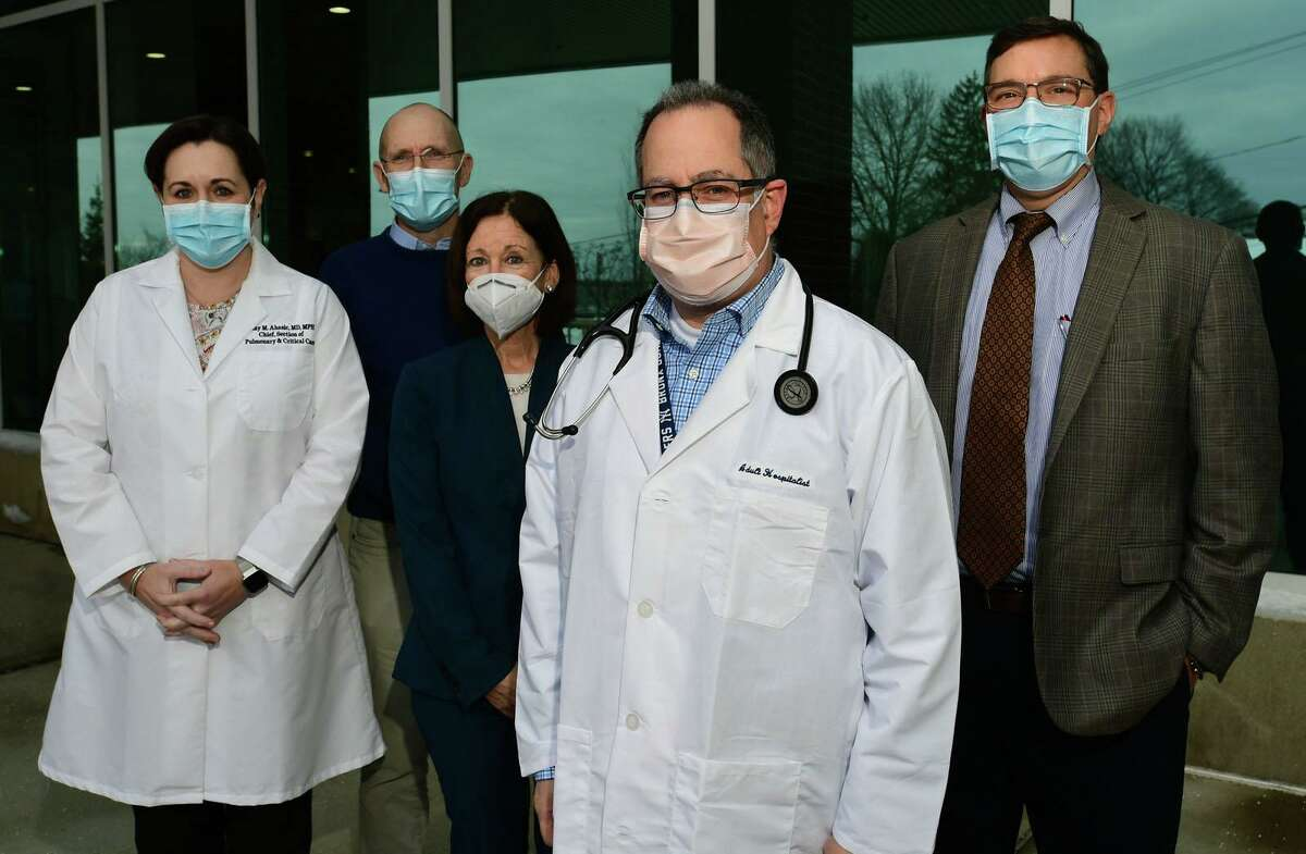 Amy Ahasic, M.D., Section Chief, Pulmonary,Peter Cordeau, President, Norwalk Hospital, Leslie Lincoln, Chief Nursing and Operations Officer, Paolo Pino, M.D., Infectious Disease, Jason Orlinick, M.D., Ph.D, Vice President Medical Affairs & Chairman of Medicine, Norwalk Hospital, Friday, December17, 2020, at thehospital in Norwalk, Conn. The first COVID-19 vaccines that are being distributed in Norwalk will be given at the Norwalk Hospital.