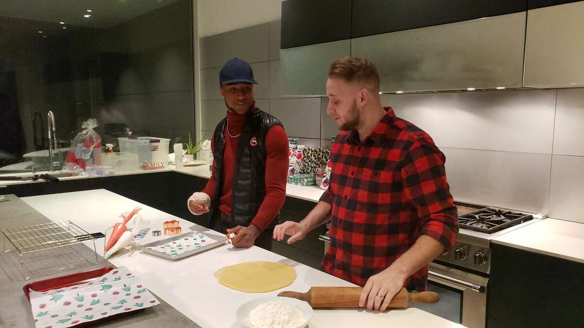 Texans safety Justin Reid teamed up with his private chef and business partner, Jake Gober of Silver Whisk Cooking, to bake sugar cookies.