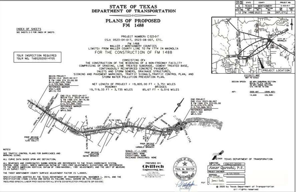 TXDOT plans to widen FM 1488 from the Waller County line to FM 1774