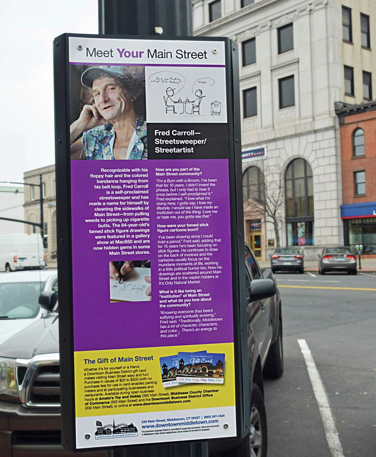 Middletown's Downtown Business District has way-finding signs along Main Street, each of which includes a map of the area and short profile of a business person or short stories about familiar faces.