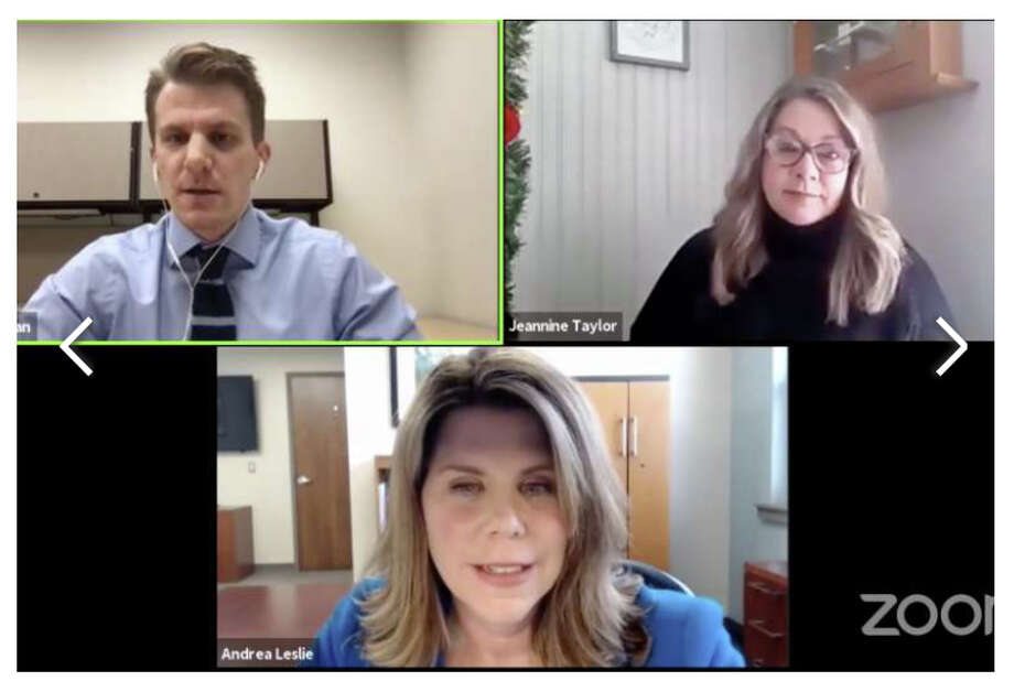 The Pioneer hosted a live Town Hall meeting to discuss the COVID-19 pandemic. Counter-clockwise from bottom: Andrea Leslie, president of Spectrum Health Big Rapids, Reed City, United and Kelsey hospitals;  Jeannine Taylor, a public information officer for the District Health Department No. 10; and Bradley Massman, Pioneer editor. Photo: Screenshot