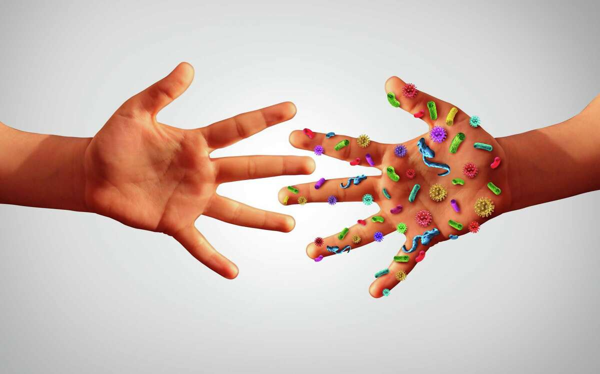 Infectious diseases spread hygiene concept as hands with germ virus and bacteria spreading with illness in public as a community transmission exposure concept as infected people with 3D illustration elements.