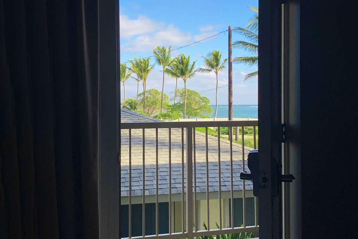 The view from within: Kauai as seen from inside the hotel room.