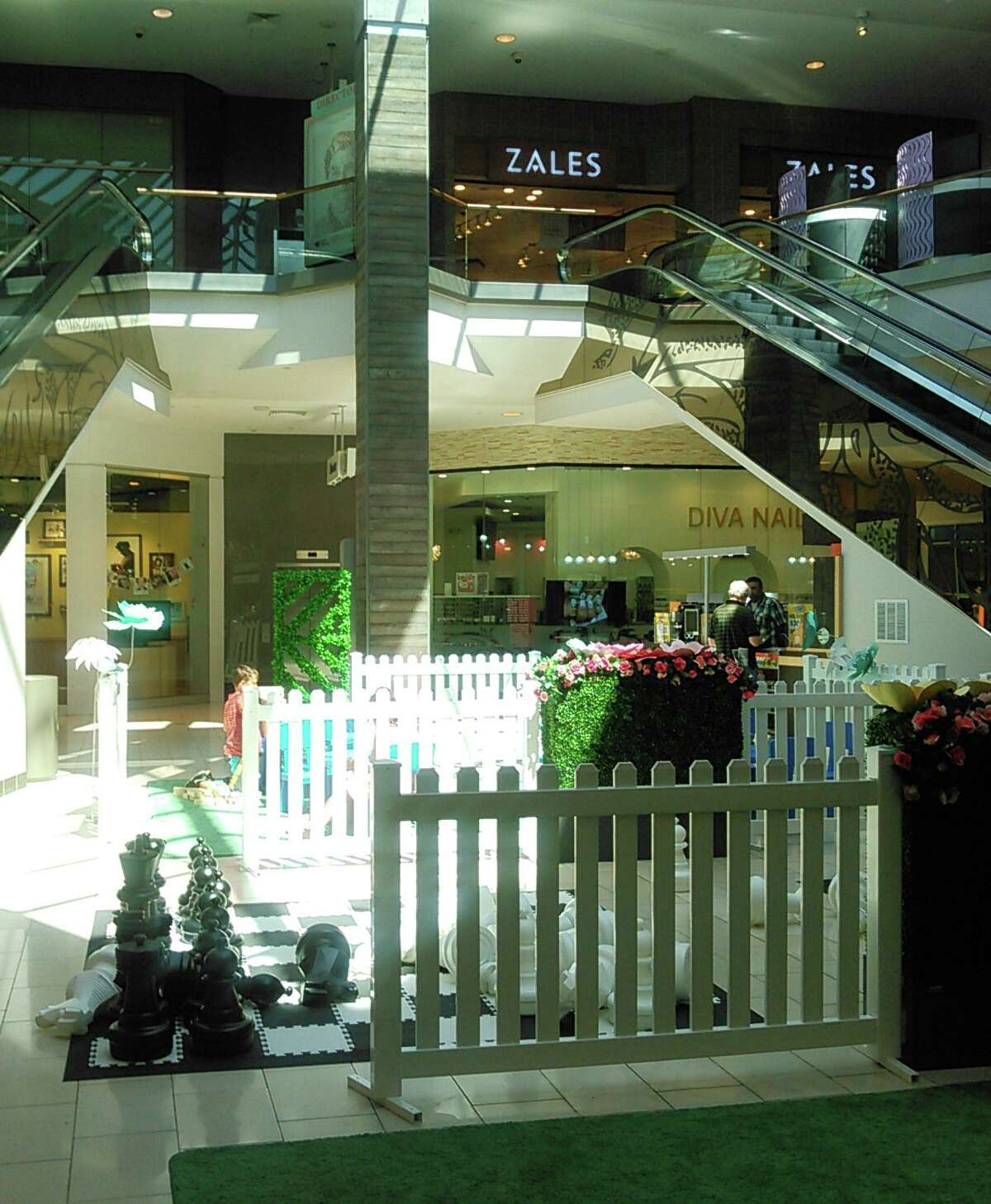The play area in the Westfield Trumbull mall near the escalator where a toddler was injured in 2018. Her mother is suing the mall and the escalator company.