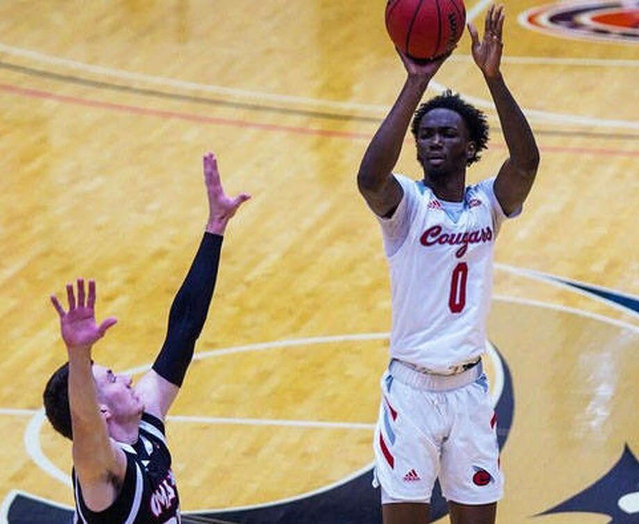 SIUE junior Sidney Wilson puts up a shot during a game against the University of Nebraska-Omaha at the First Community Arena. Wilson scored 18 points in Friday's win at Morehead State.