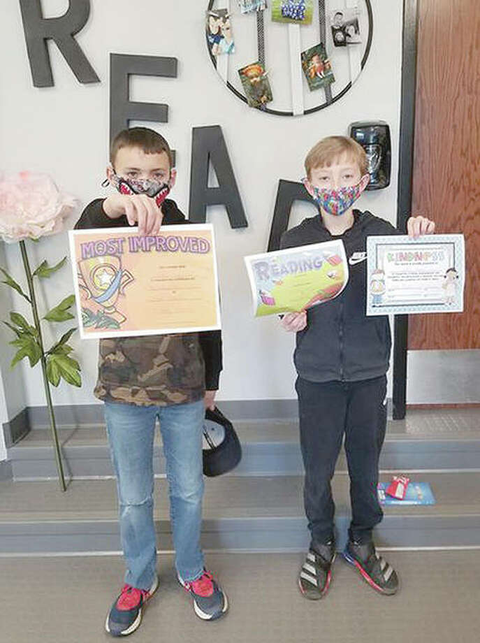 Scott-Morgan School District recently recognized its students of the month for November. Fifth-grade student of the month was Dallas Surratt (right), for displaying the character trait kindness and also for being the top reader. Brady Engelbrecht was recognized as most improved reader. Photo: Photos Provided