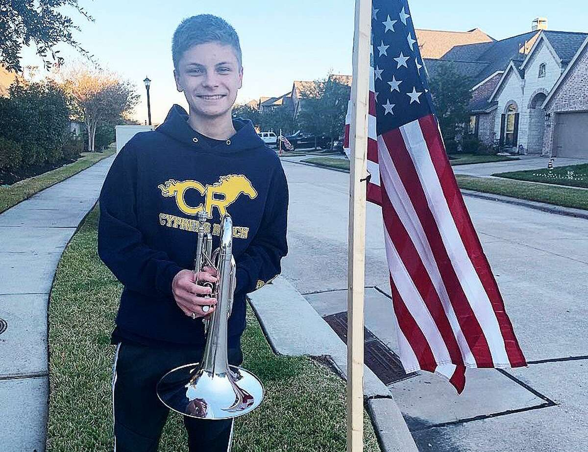 Ethan Martula is a freshman in the Cy Ranch High School marching band. Martula used his talents to play nightly in front of his home in honor of Sgt. Marty Gonzalez who died suddenly at his home in their neighborhood.