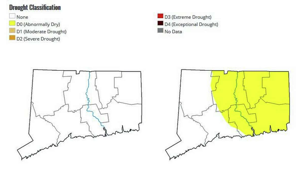 The map on the right shows Connecticut's last abnormally dry conditions in eastern Connecticut on Dec. 8, 2020. The map on the left shows no dry or drought conditions in the state. The last time that happened was on June 2, 2020.