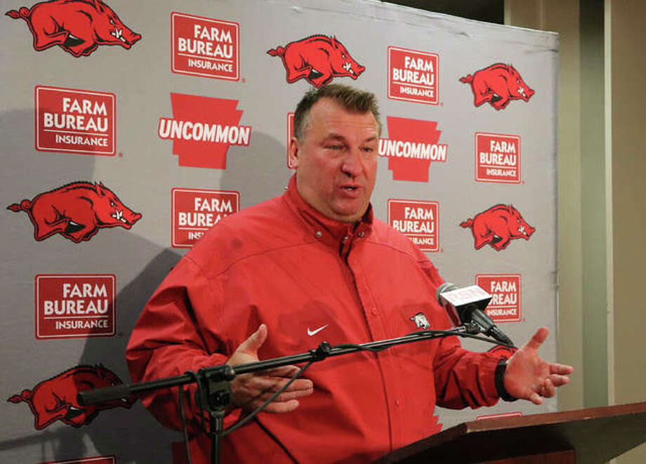 FILE - In this Nov 24, 2017 file photo, Bret Bielema speaks with reporters beneath Razorback Stadium in Fayetteville, Ark. Bielema is returning to the Big Ten and his home state to coach Illinois. Illinois hired the former Wisconsin and Arkansas coach, hoping he can turn around a program with nine straight losing seasons. Photo: Associated Press
