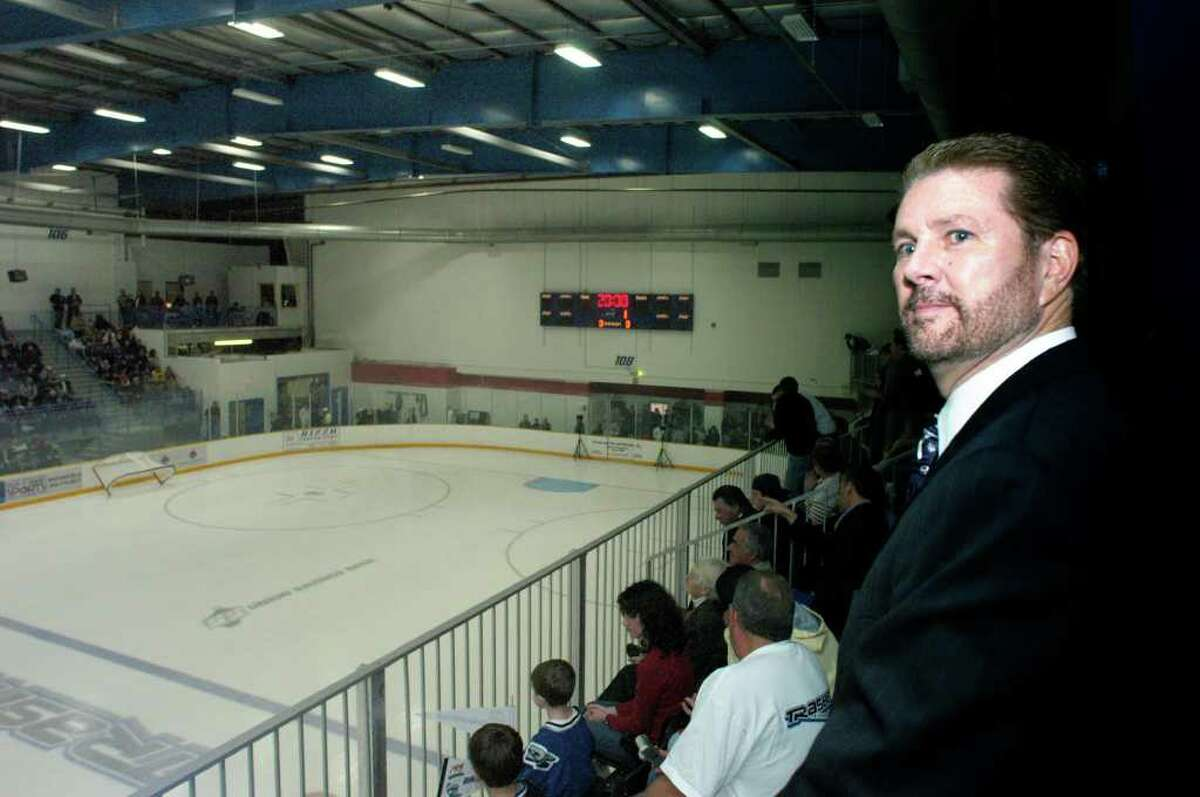 James Galante watches from his private box on the opening night of the Trasher's first season in Danbury.(2004)