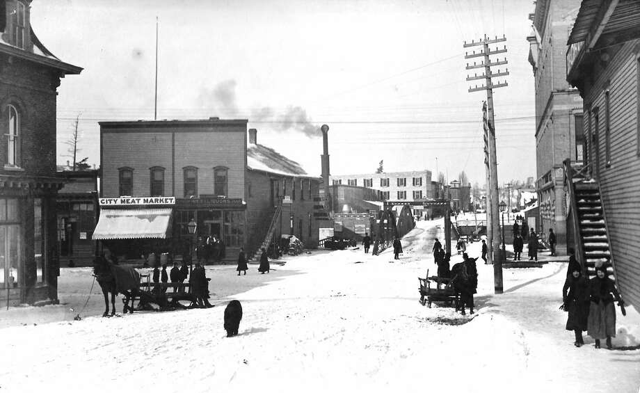 A view of the northwest corner of River and Maple Street in 1888. Photo: Manistee County Historical Museum Photo