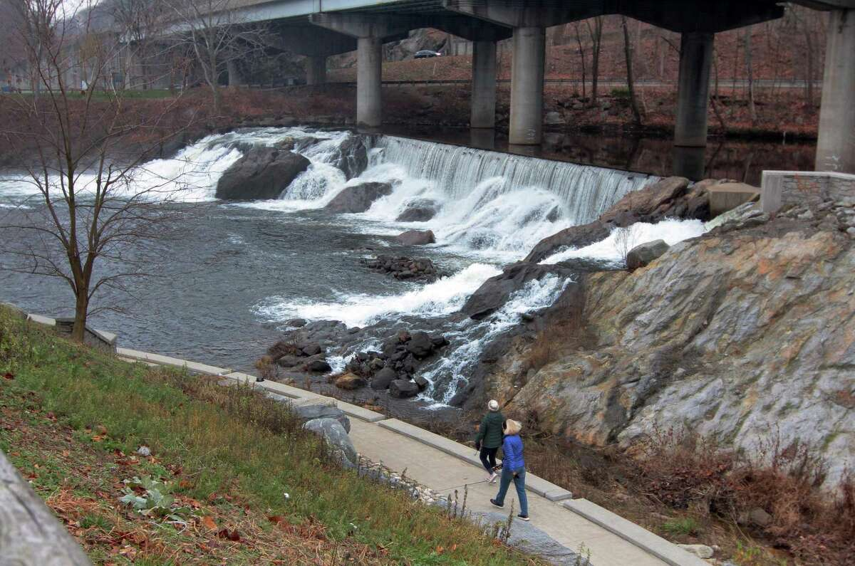 A view of the Paul Pawlak Sr. Fish Bypass and Park at Tingue Dam along the Naugatuck River in Seymour, Conn., on Saturday Dec. 12, 2020. Kevin Zak, who heads the Naugatuck River Revival Group led Ansonia Mayor David Cassetti, Greg Martin, Cassetti's director of constituent services, Seymour First Selectwoman Annmarie Drugonis and Seymour Selectman Chris Bowen on a tour of the Kinneytown Dam down river in Ansonia, which in its deteriorating state not only prevents fish from migrating upstream but could cause flooding in the event of a failure.