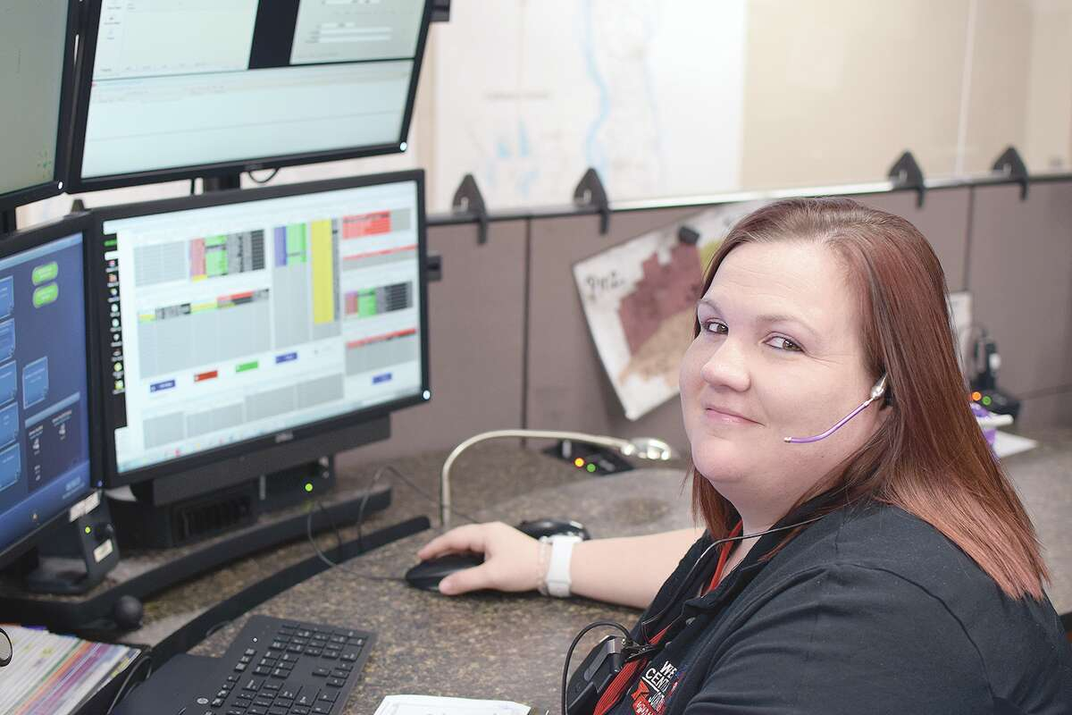 Sarah Rushton at work in the West Central Joint Dispatch Center.