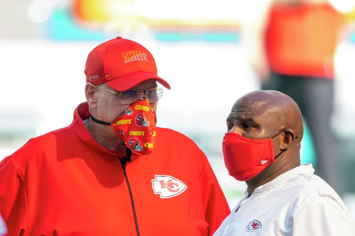 Kansas City coach Andy Reid, left, says his offensive coordinator Eric Bieniemy, right, is ready to be an NFL head coach.