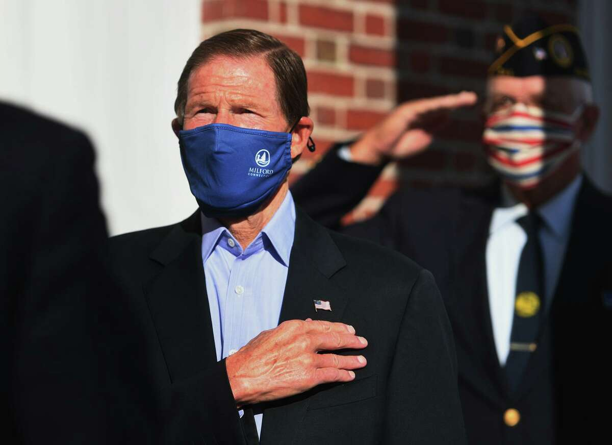 Senator Richard Blumenthal attends the annual Veterans Day ceremony outside City Hall in Milford, Conn. on Sunday, November 8, 2020.