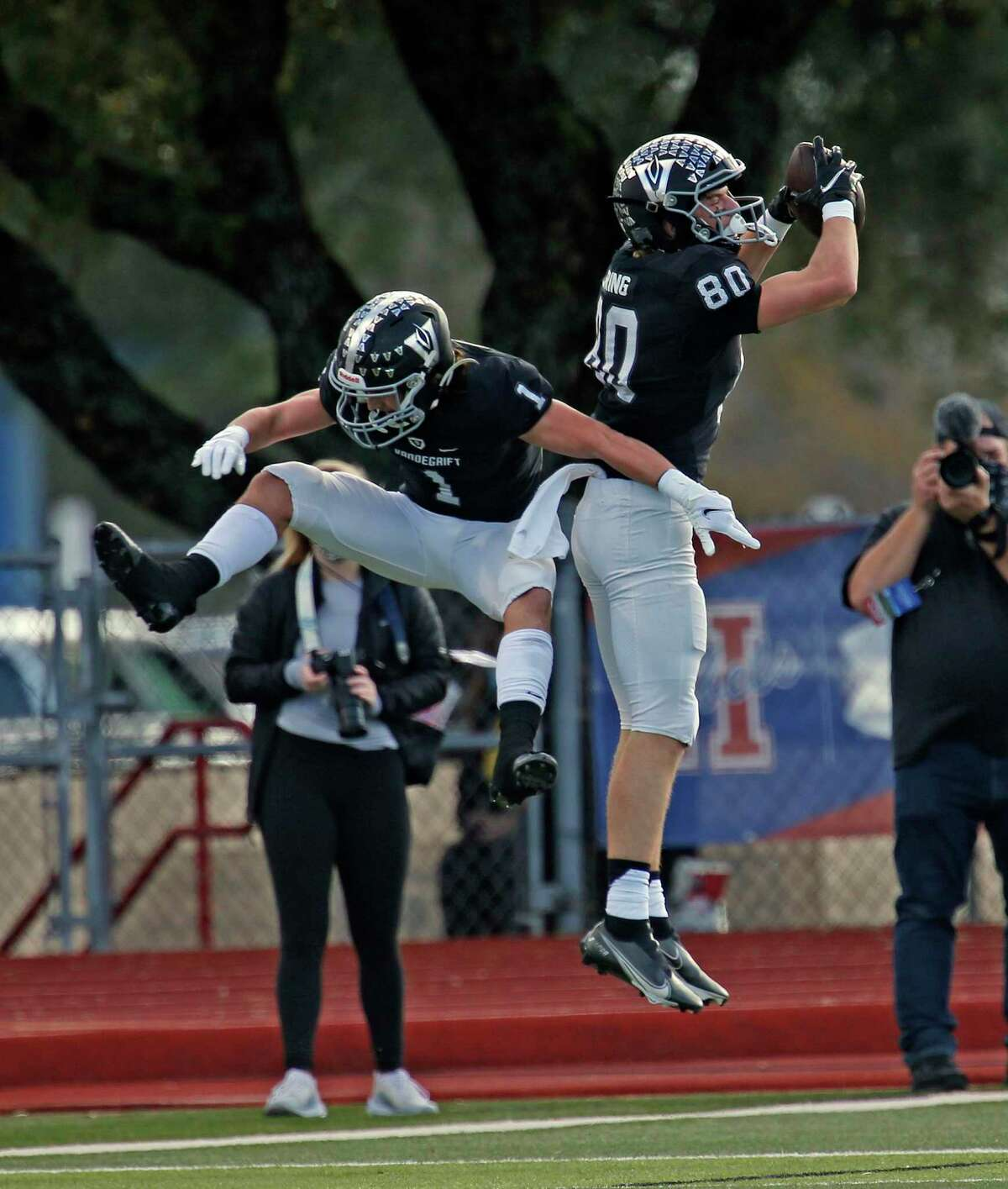 Vandegrift Taylor Dummar celebrates with WR Graylan Spring,80, after his touchdown reception. Roosevelt v Austin Vandegrift on Saturday, Dec. 19, 2020 at Shelton Stadium.