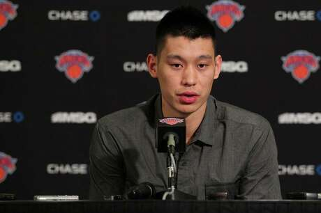 Mar 31, 2012; New York, NY, USA; New York Knicks point guard Jeremy Lin (17) holds a press conference to announce that he will be out for the remainder of the season with a partially torn meniscus before the game against the Cleveland Cavaliers at Madison Square Garden. Mandatory Credit: Anthony Gruppuso-US PRESSWIRE