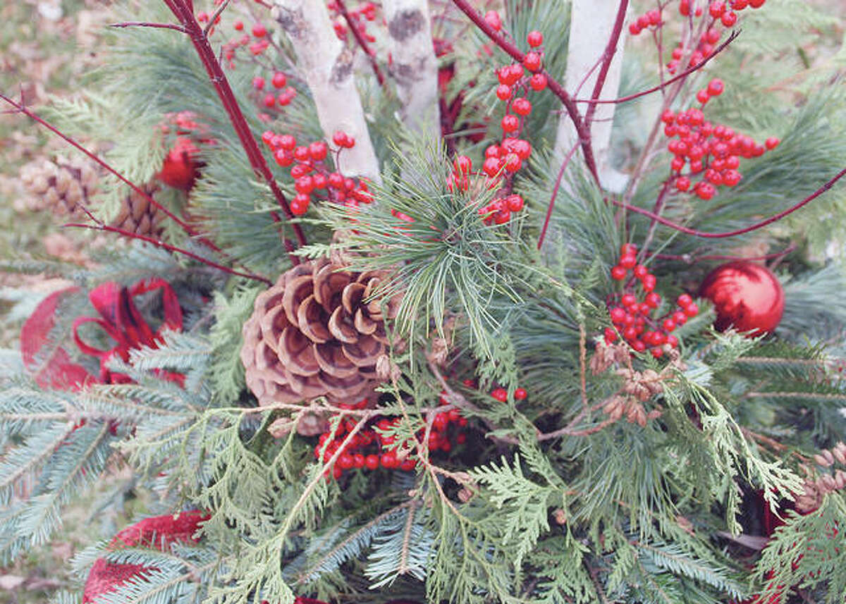 A festive holiday centerpiece can be crafted from materials found in winter gardens.