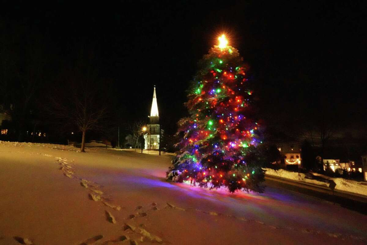 The Christmas Tree at God's Acre in New Canaan with fresh snow from the storm of Dec. 17, 2020.