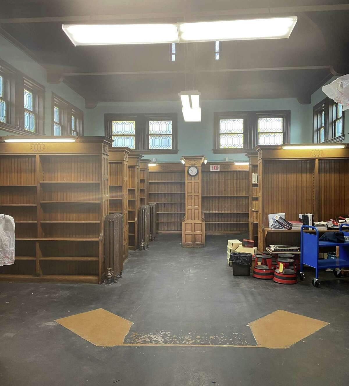 The city is updating the public restrooms to make them ADA compliant, and the library board is overseeing renovation - including fresh paint, new lighting and refinishing the wood floors - of the older part of the building.