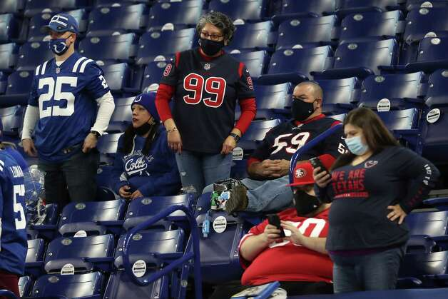 Houston Texans and Indianapolis Colts fans watch the teams warm up before an NFL football game at Lucas  Field Sunday, Dec. 20, 2020, in Indianapolis. Photo: Brett Coomer, Staff Photographer / © 2020 Houston Chronicle