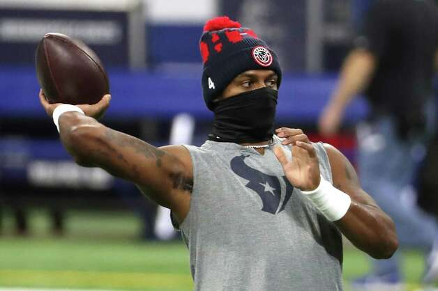 Houston Texans quarterback Deshaun Watson warms up before an NFL football game against the Indianapolis Colts at Lucas  Field Sunday, Dec. 20, 2020, in Indianapolis. Photo: Brett Coomer, Staff Photographer / © 2020 Houston Chronicle