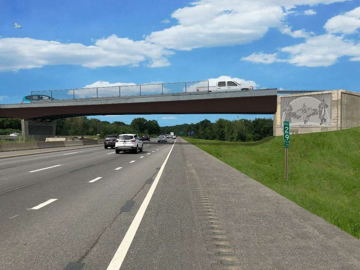 Mural renderings by NY DOT provided to Tribal consulting parties. New York has not put up agreed-upon Native American murals at Northway's Exit 3, despite reaching an agreement to do so.
