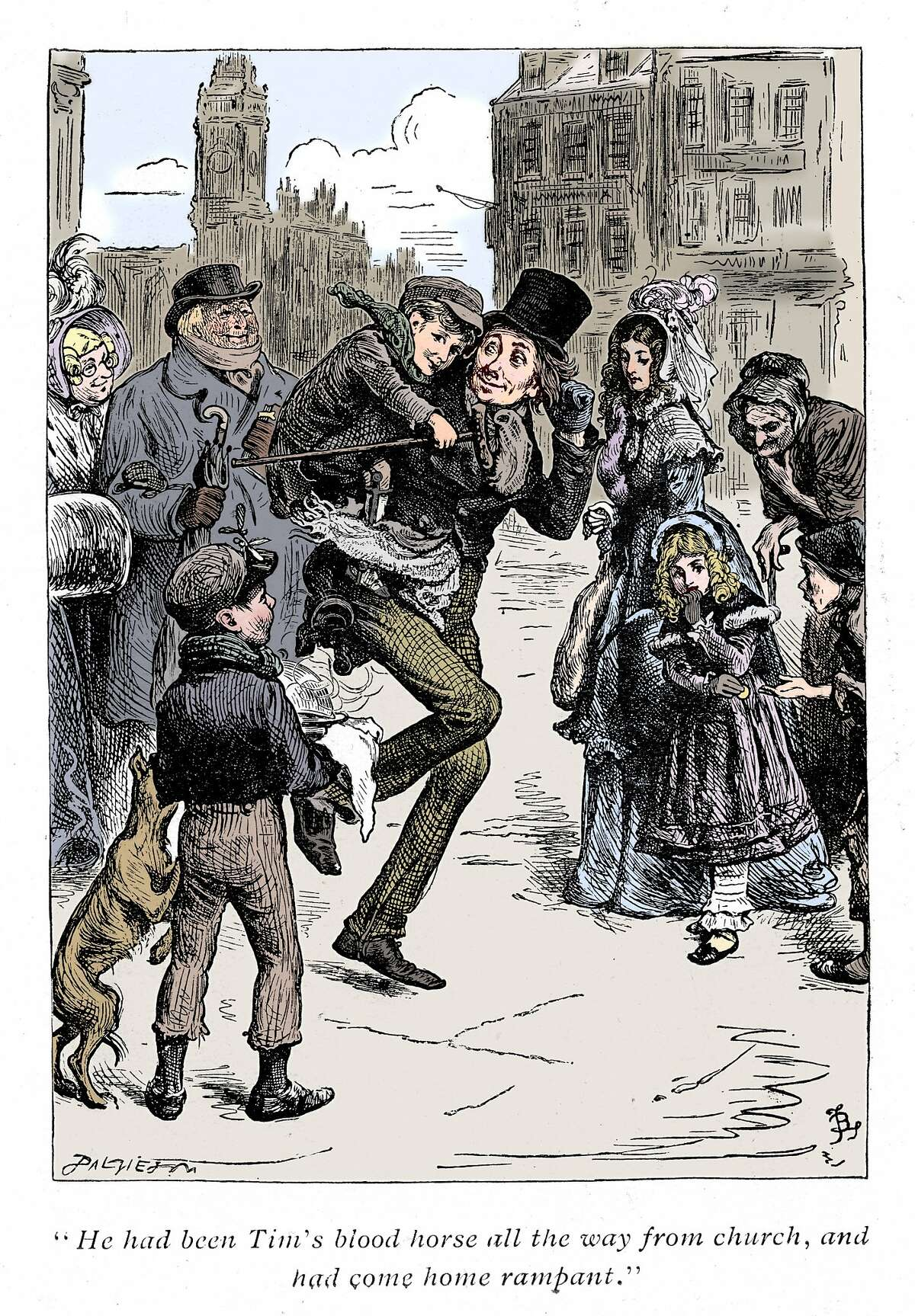 Bob Cratchett carries Tiny Tim in a scene from