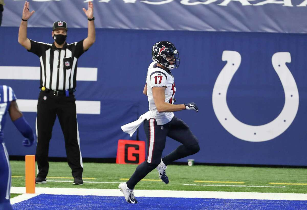Houston Texans wide receiver Chad Hansen (17) crosses the goal line for a 38-yard touchdown reception during the first half of an NFL football game at Lucas Field Sunday, Dec. 20, 2020, in Indianapolis.