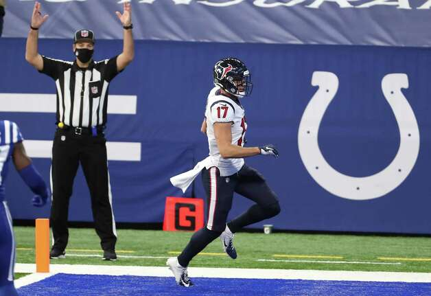 Houston Texans wide receiver Chad Hansen (17) crosses the goal line for a 38-yard touchdown reception during the first half of an NFL football game at Lucas  Field Sunday, Dec. 20, 2020, in Indianapolis. Photo: Brett Coomer, Staff Photographer / © 2020 Houston Chronicle