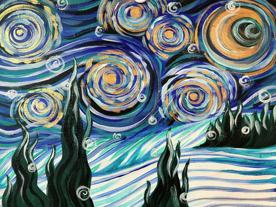 """Creative 360is still running paid virtual classes as well. Projects include""""Snowy Night,"""" a modern winter version of Van Gogh's iconic """"Starry Night."""" (Photo provided/Creative 360)"""