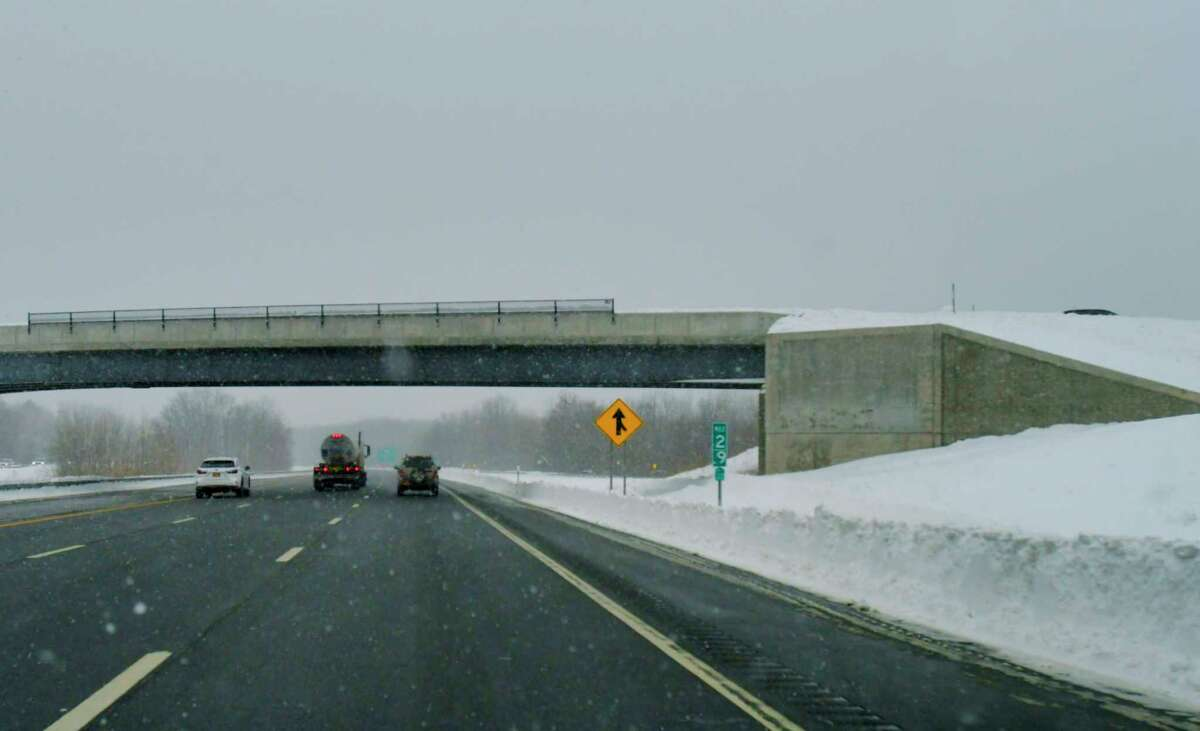 A view of the exit 3 bridge over Interstate 87 on Sunday, Dec. 20, 2020, in Albany, N.Y. (Paul Buckowski/Times Union)