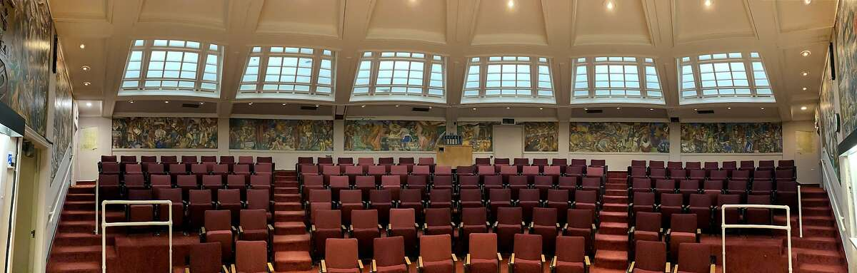 """An overview of the 10-panel """"History of Medicine in California"""" murals"""